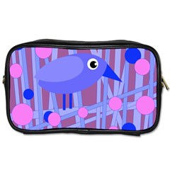 Purple And Blue Bird Toiletries Bags 2 Side by Valentinaart