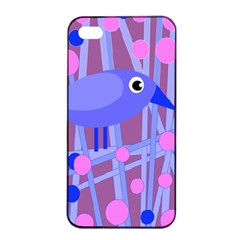 Purple And Blue Bird Apple Iphone 4/4s Seamless Case (black) by Valentinaart