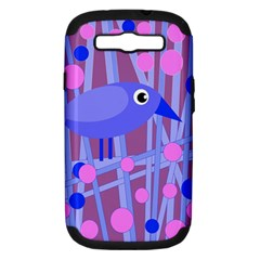 Purple And Blue Bird Samsung Galaxy S Iii Hardshell Case (pc+silicone) by Valentinaart