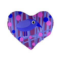 Purple And Blue Bird Standard 16  Premium Flano Heart Shape Cushions by Valentinaart