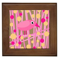 Pink Bird Framed Tiles by Valentinaart
