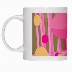 Pink Bird White Mugs by Valentinaart
