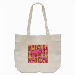 Pink Bird Tote Bag (cream) by Valentinaart