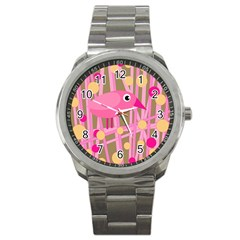 Pink Bird Sport Metal Watch by Valentinaart