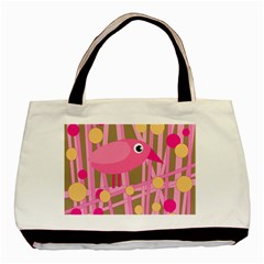 Pink Bird Basic Tote Bag by Valentinaart