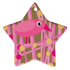 Pink Bird Star Ornament (two Sides)  by Valentinaart