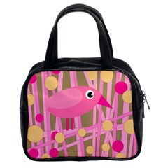 Pink Bird Classic Handbags (2 Sides) by Valentinaart