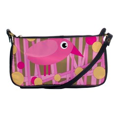Pink Bird Shoulder Clutch Bags by Valentinaart