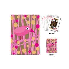 Pink Bird Playing Cards (mini)  by Valentinaart