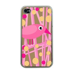 Pink Bird Apple Iphone 4 Case (clear) by Valentinaart