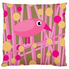 Pink Bird Large Cushion Case (one Side) by Valentinaart