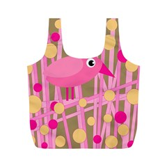 Pink Bird Full Print Recycle Bags (m)  by Valentinaart