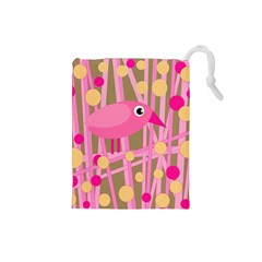 Pink Bird Drawstring Pouches (small)  by Valentinaart