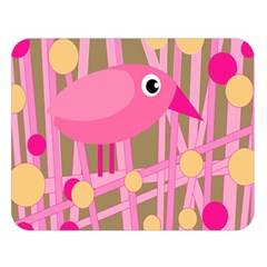 Pink Bird Double Sided Flano Blanket (large)  by Valentinaart