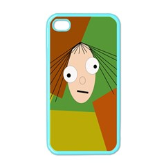 Crazy Girl Apple Iphone 4 Case (color) by Valentinaart