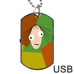 Crazy Girl Dog Tag Usb Flash (two Sides)  by Valentinaart