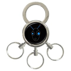 Blue Alien 3 Ring Key Chains by Valentinaart