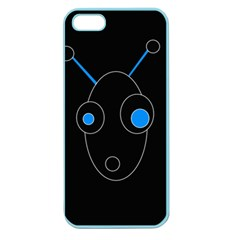 Blue Alien Apple Seamless Iphone 5 Case (color) by Valentinaart