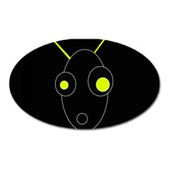 Yellow Alien Oval Magnet by Valentinaart