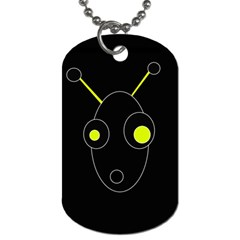 Yellow Alien Dog Tag (one Side) by Valentinaart
