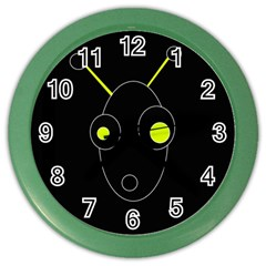 Yellow Alien Color Wall Clocks by Valentinaart