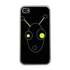 Yellow Alien Apple Iphone 4 Case (clear) by Valentinaart