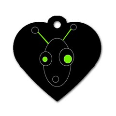Green Alien Dog Tag Heart (one Side) by Valentinaart