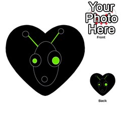 Green Alien Multi Purpose Cards (heart)