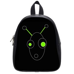 Green Alien School Bags (small)  by Valentinaart