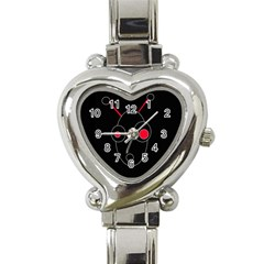 Red Alien Heart Italian Charm Watch by Valentinaart