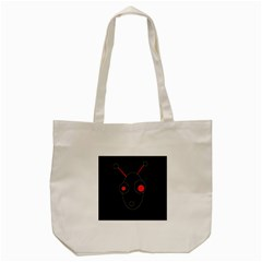 Red Alien Tote Bag (cream) by Valentinaart