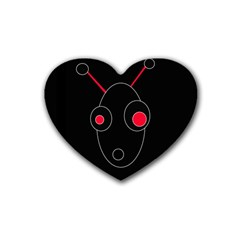 Red Alien Rubber Coaster (heart)  by Valentinaart