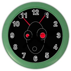 Red Alien Color Wall Clocks by Valentinaart