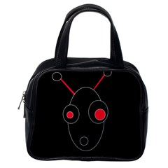 Red Alien Classic Handbags (one Side) by Valentinaart