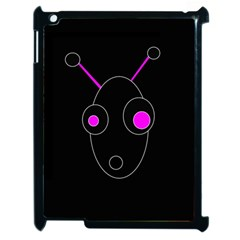 Purple Alien Apple Ipad 2 Case (black) by Valentinaart