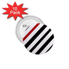 Red, Black And White Lines 1 75  Buttons (10 Pack) by Valentinaart