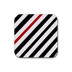 Red, Black And White Lines Rubber Square Coaster (4 Pack)  by Valentinaart