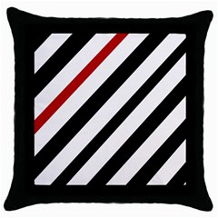 Red, Black And White Lines Throw Pillow Case (black) by Valentinaart