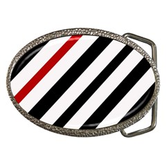 Red, Black And White Lines Belt Buckles by Valentinaart