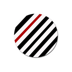 Red, Black And White Lines Magnet 3  (round) by Valentinaart
