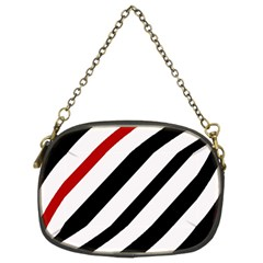 Red, Black And White Lines Chain Purses (two Sides)