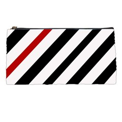 Red, Black And White Lines Pencil Cases by Valentinaart