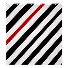 Red, Black And White Lines Shower Curtain 66  X 72  (large)  by Valentinaart