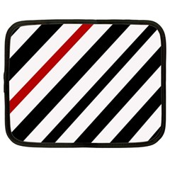 Red, Black And White Lines Netbook Case (xxl)  by Valentinaart