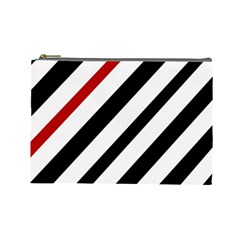 Red, Black And White Lines Cosmetic Bag (large)  by Valentinaart