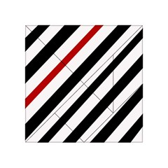 Red, Black And White Lines Acrylic Tangram Puzzle (4  X 4 ) by Valentinaart