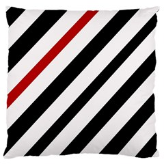 Red, Black And White Lines Large Cushion Case (two Sides) by Valentinaart