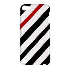 Red, Black And White Lines Apple Ipod Touch 5 Hardshell Case by Valentinaart