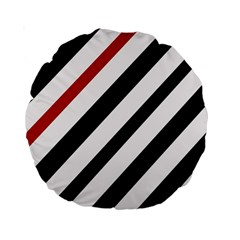 Red, Black And White Lines Standard 15  Premium Round Cushions by Valentinaart