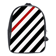 Red, Black And White Lines School Bags (xl)  by Valentinaart